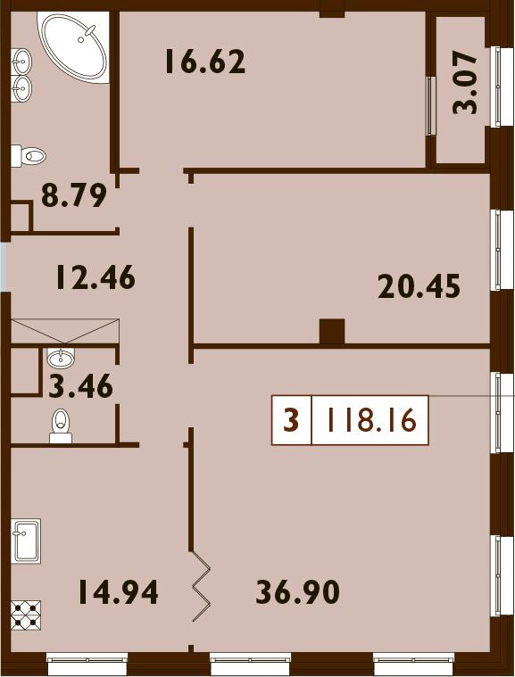 3-комнатная, 118.16 м²– 2