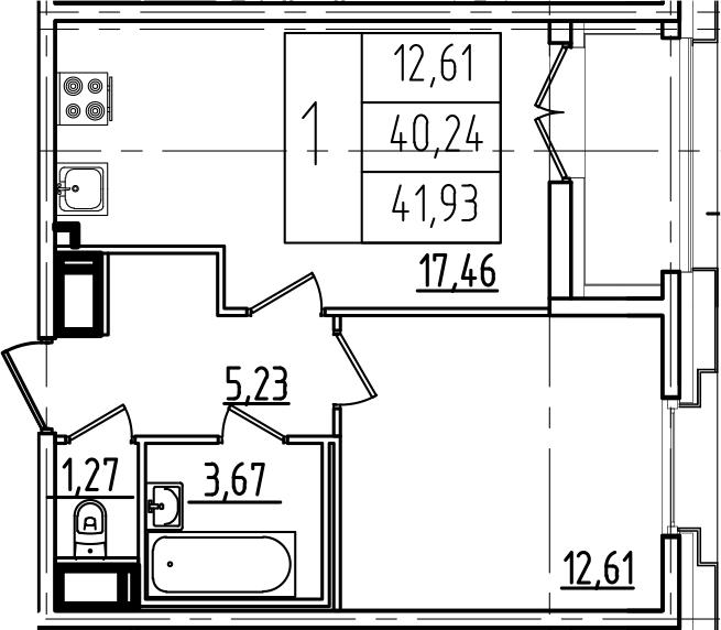 2Е-к.кв, 41.93 м², от 10 этажа