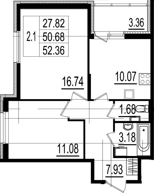 2-комнатная, 50.68 м²– 2