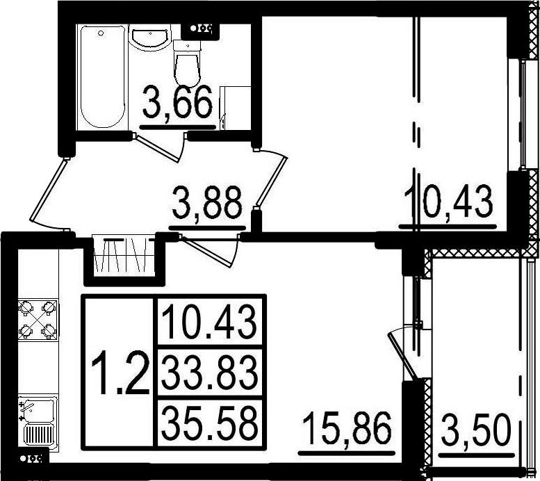 2-к.кв (евро), 37.33 м²