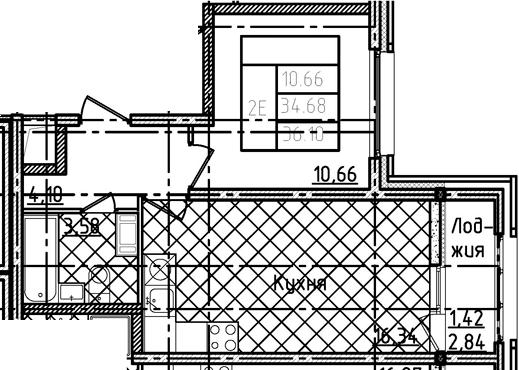 2Е-комнатная, 36.1 м²– 2