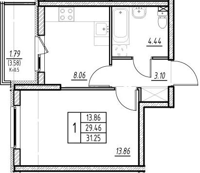 1-к.кв, 29.46 м²