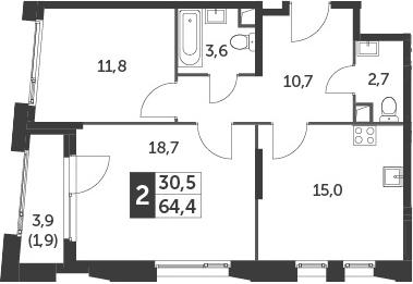 3-к.кв (евро), 66.3 м²