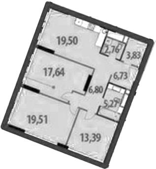3-к.кв, 95.43 м²