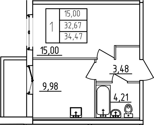 1-к.кв, 34.47 м²