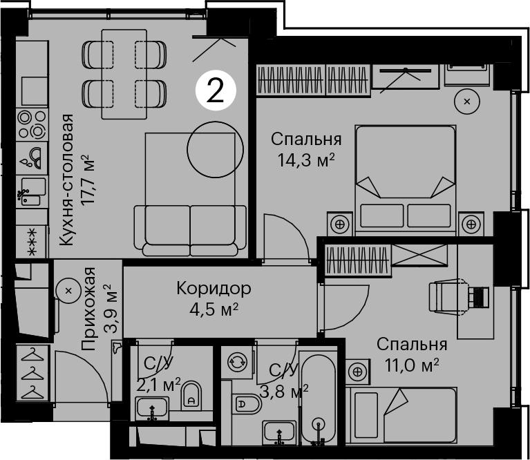 3-к.кв (евро), 57.3 м²