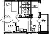 1-к.кв, 39.21 м²
