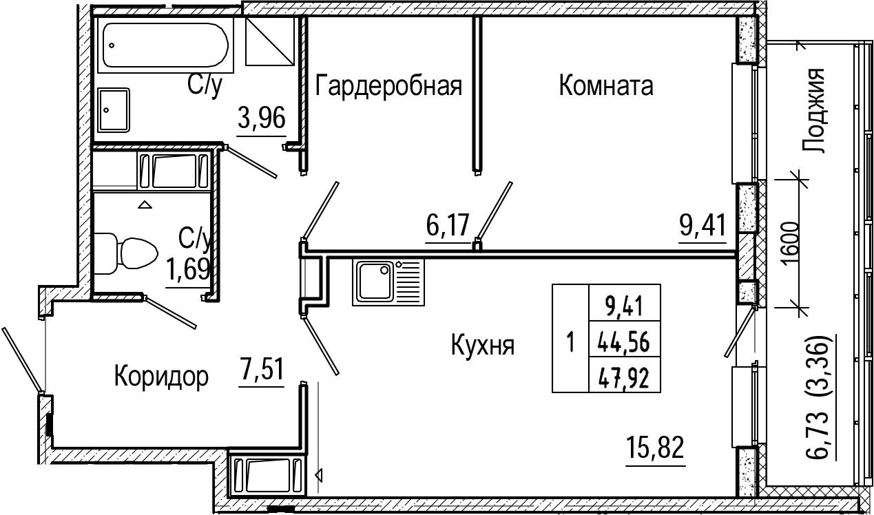 2Е-к.кв, 47.92 м², от 8 этажа