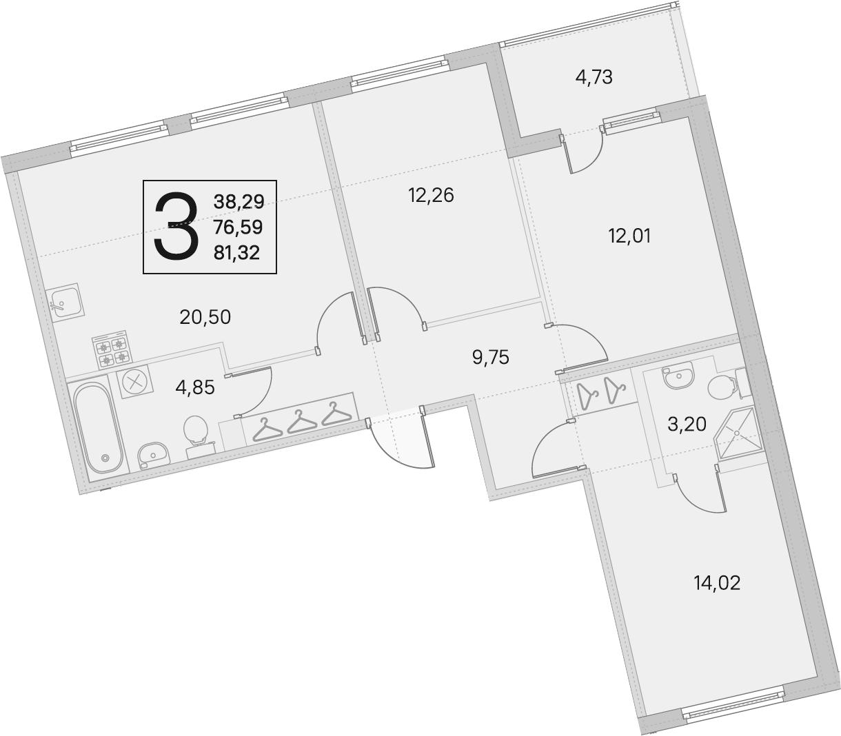 4Е-к.кв, 76.59 м²