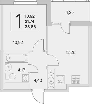 2Е-к.кв, 31.74 м², 2 этаж