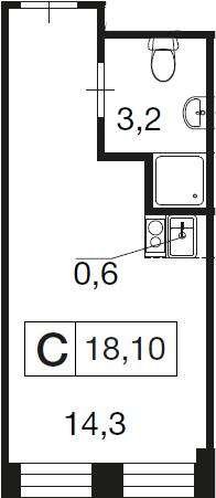 Студия, 18.1 м²– 2