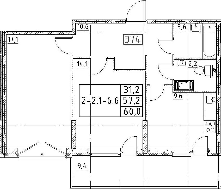 2-к.кв, 60 м², от 2 этажа