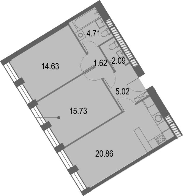 3Е-комнатная, 64.66 м²– 2
