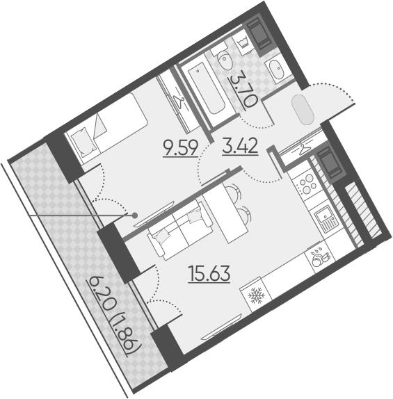 2Е-к.кв, 34.2 м²