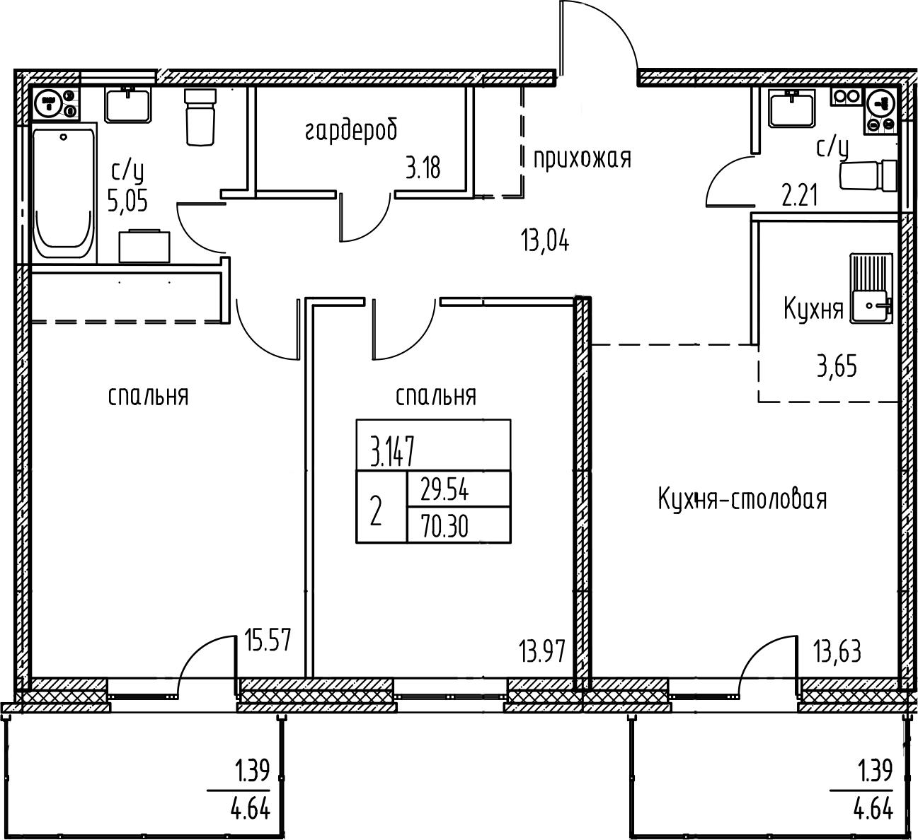 3-к.кв (евро), 79.63 м²