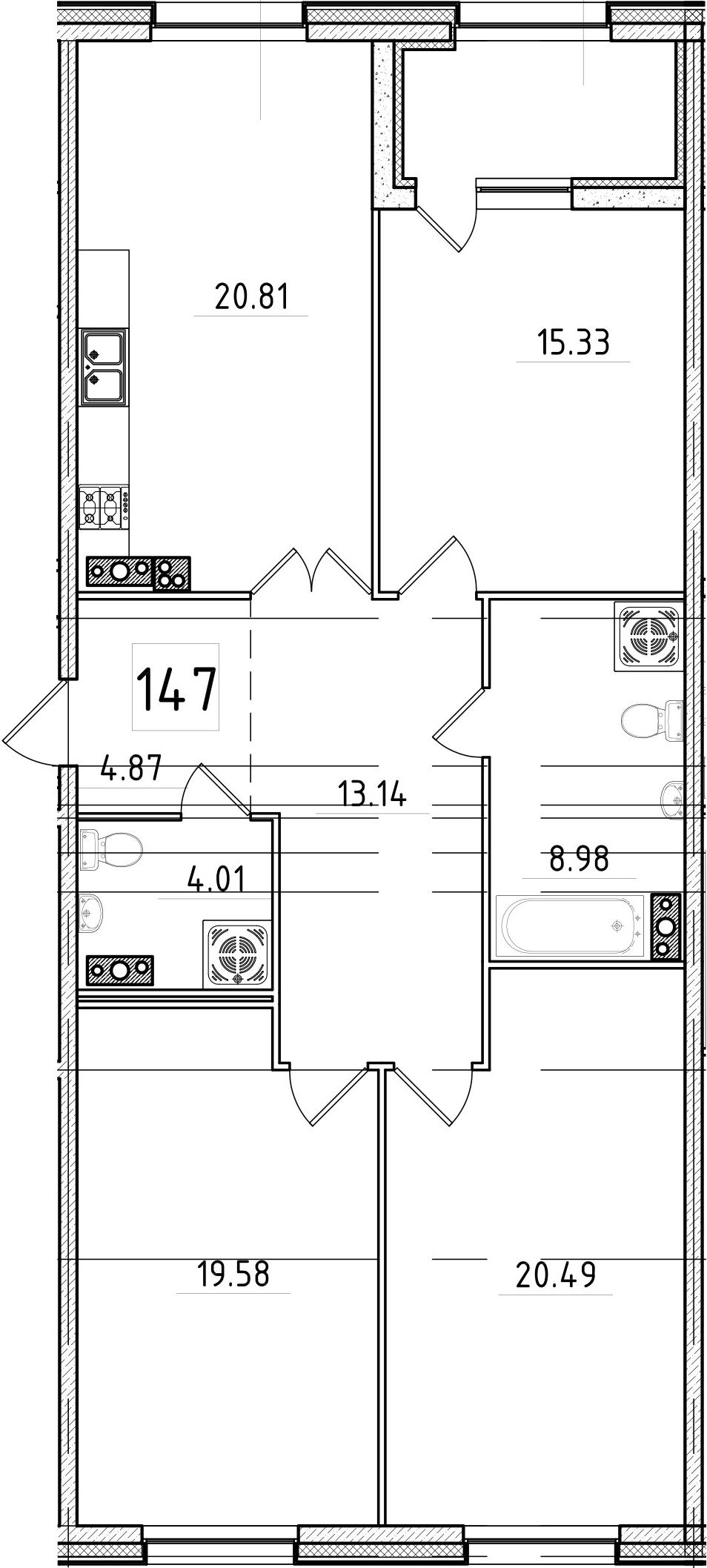 4Е-к.кв, 109.67 м², 5 этаж