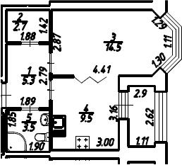 1-к.кв, 36.95 м², 2 этаж