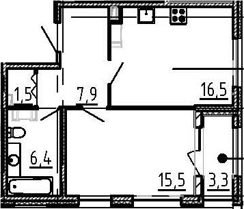 2Е-к.кв, 49.5 м²