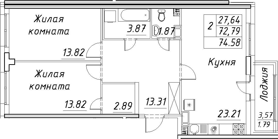 3-к.кв (евро), 76.37 м²