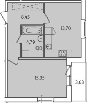 1-комнатная, 44.11 м²– 2