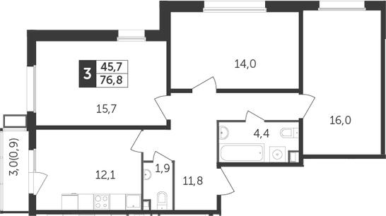 3-комнатная, 76.8 м²– 2