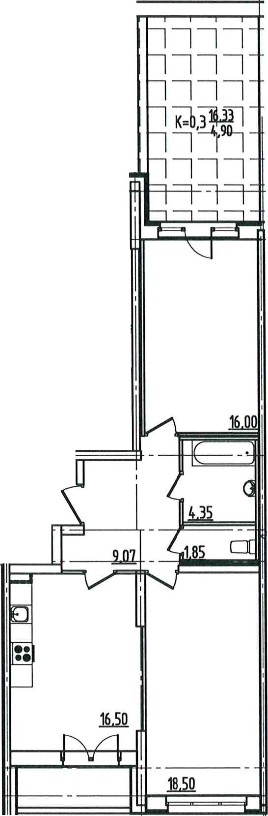 3Е-комнатная квартира, 72.88 м², 2 этаж – Планировка