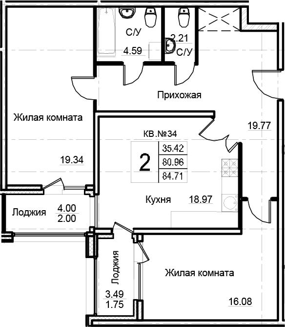 2-к.кв, 84.71 м²