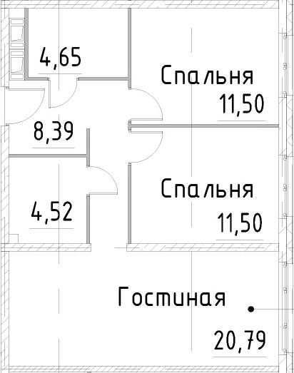 3Е-к.кв, 61.34 м², 21 этаж