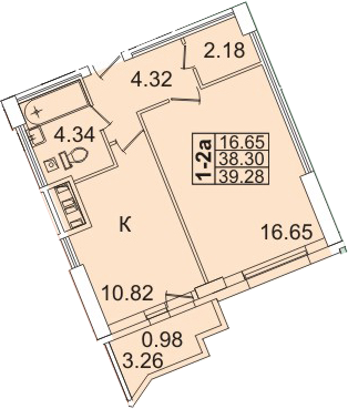 1-комнатная, 39.28 м²– 2
