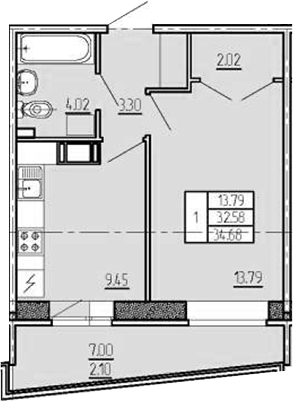 1-комнатная, 34.68 м²– 2
