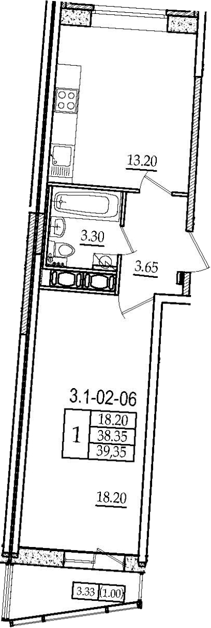 1-комнатная, 39.35 м²– 2