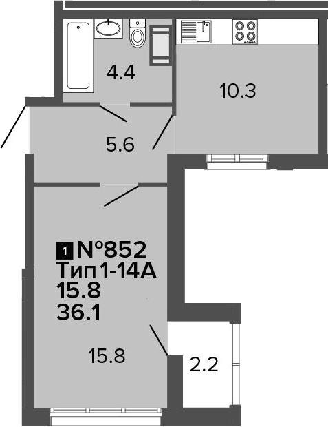 1-к.кв, 36.1 м², 4 этаж