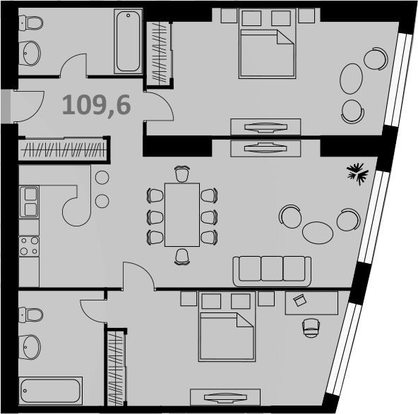 Свободная планировка, 109 м²– 2