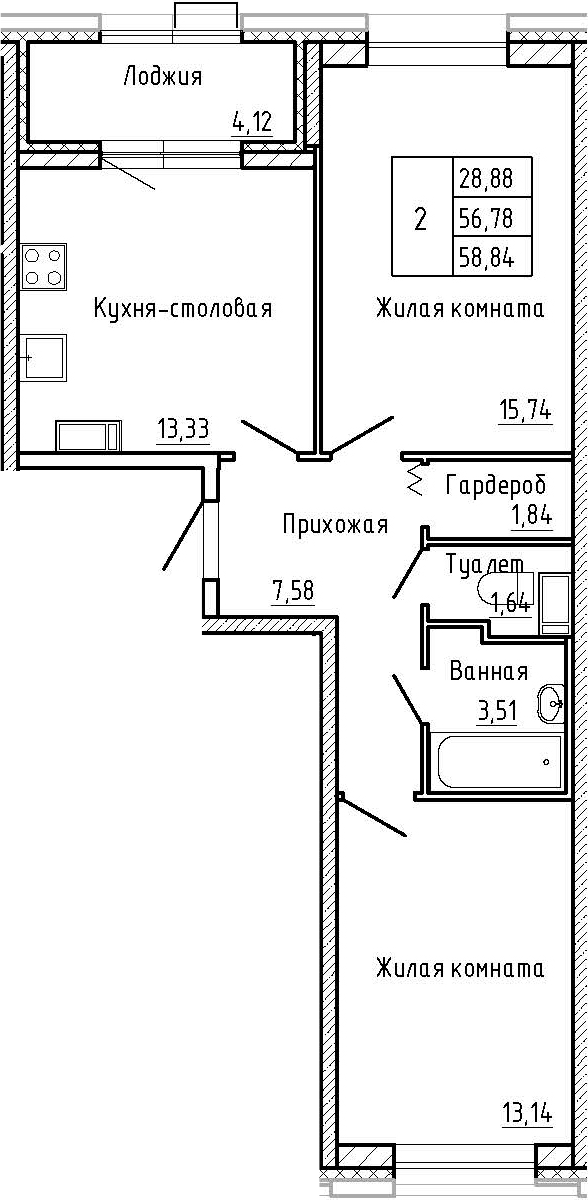 2-к.кв, 58.84 м²