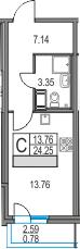 Студия, 24.25 м²– 2