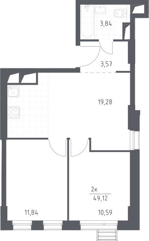 3Е-к.кв, 49.12 м², 23 этаж