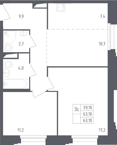 3Е-к.кв, 63.1 м²