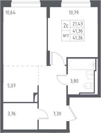 2Е-к.кв, 41.36 м²