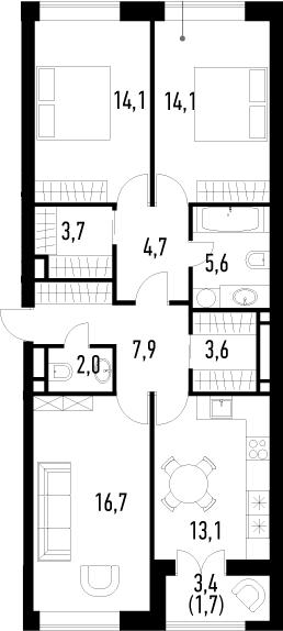 3-к.кв, 87.2 м², 6 этаж