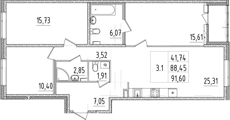 4Е-к.кв, 88.45 м²