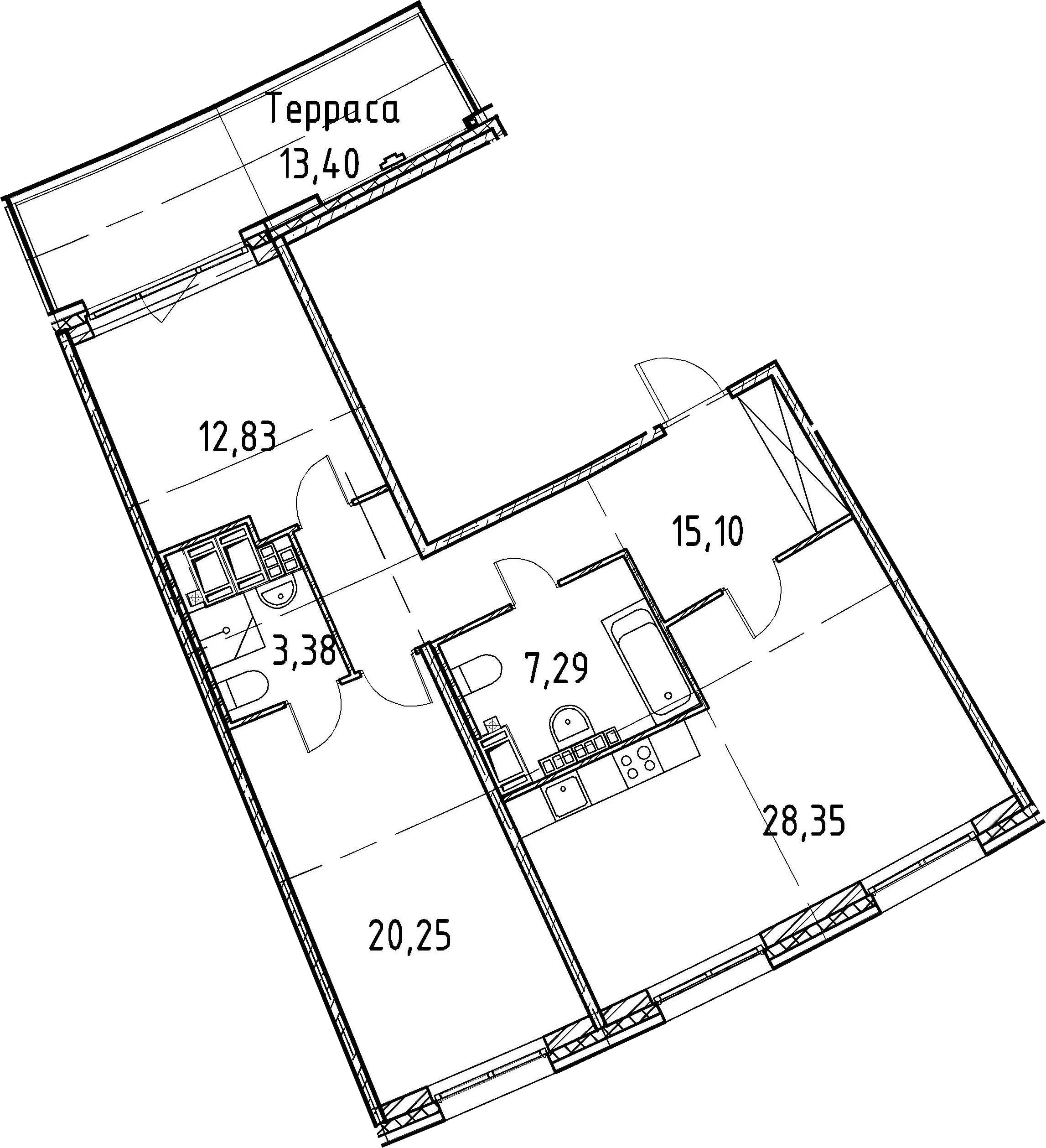 3Е-комнатная, 87.2 м²– 2
