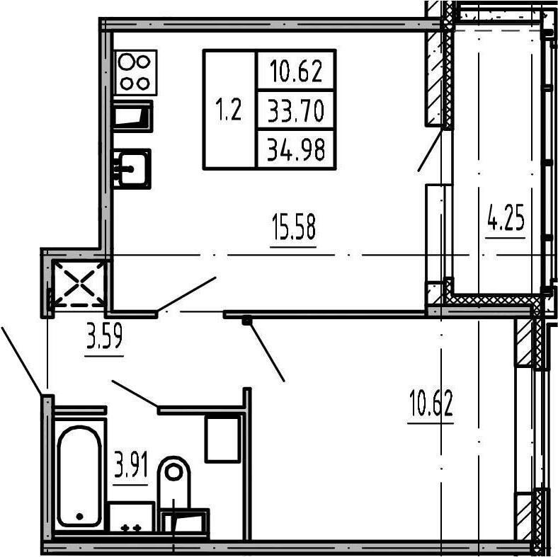2-к.кв (евро), 37.95 м²
