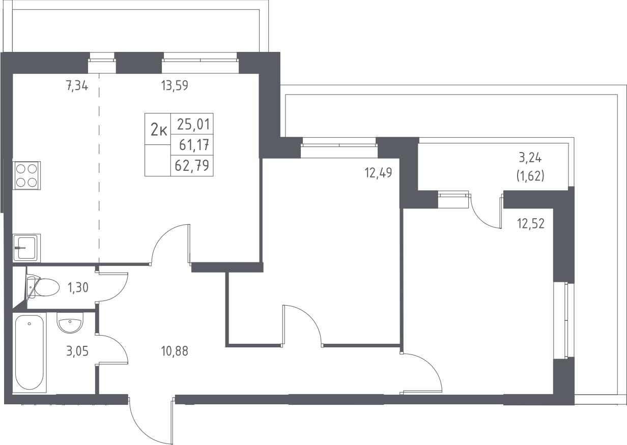 2-к.кв, 64.41 м²