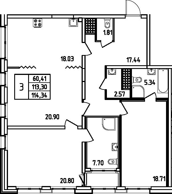 4Е-к.кв, 114.34 м², 15 этаж