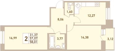 2-к.кв, 60.19 м²