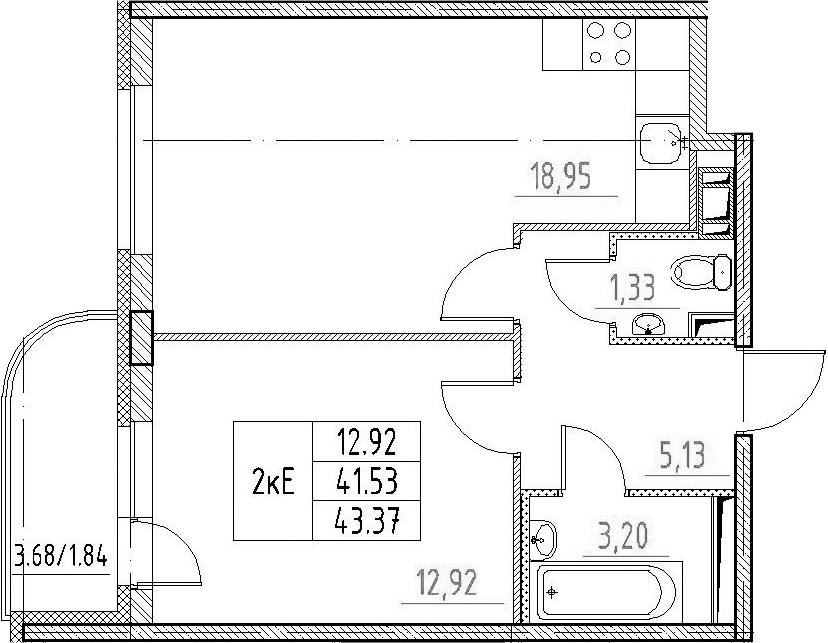 2-к.кв (евро), 45.21 м²