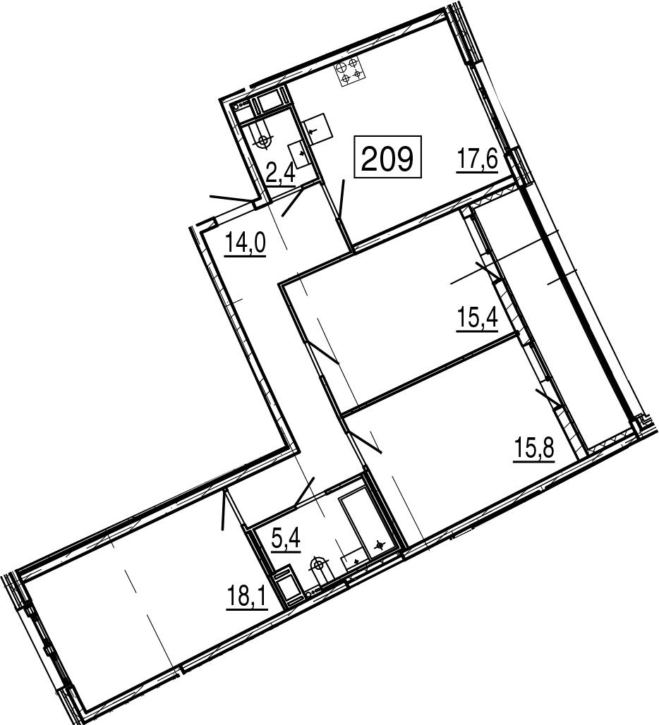 4Е-к.кв, 92.5 м²