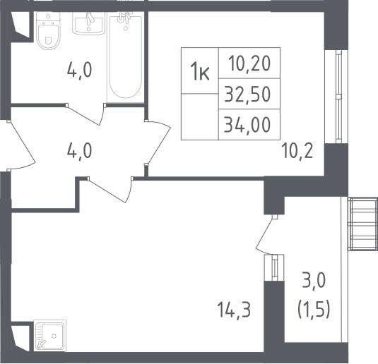 1-комнатная, 34 м²– 2