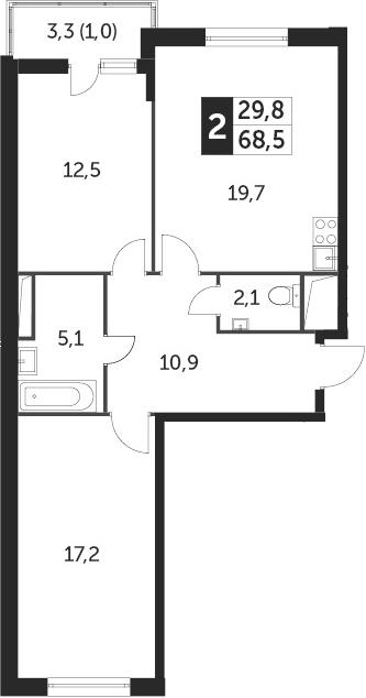 3-к.кв (евро), 70.13 м²