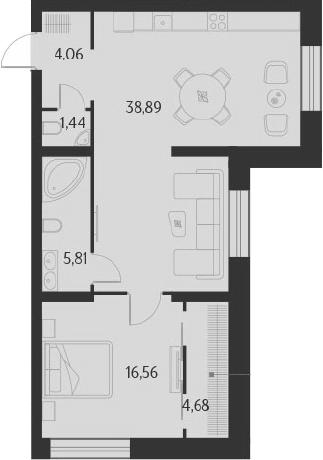 2-к.кв (евро), 71.44 м²